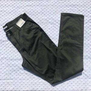 NY&Co Satin Finish Olive Green Tall Skinny Pants